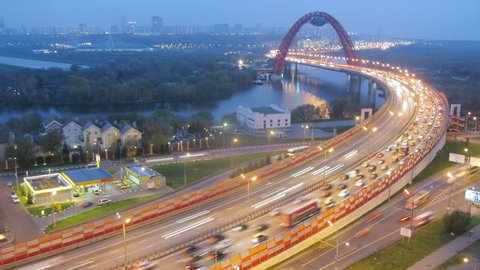 MOSCOW - OCT 17: (Timelapse) Night traffic on highway junction in Moscow, on Oct 17, 2012 in Moscow, Russia. Zvenigorodskoe Highway junction was finished in 2008