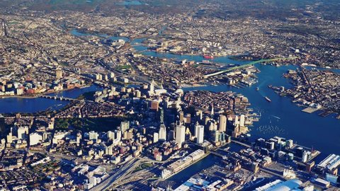 Boston, MA - CIRCA 2017 - Daytime high AERIAL view of downtown Boston, North Shore, Cambridge, & Logan