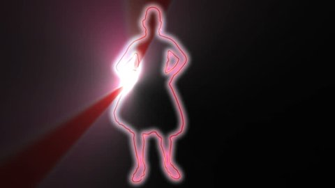 neon outlined gogo dancer silhouette in red with light rays