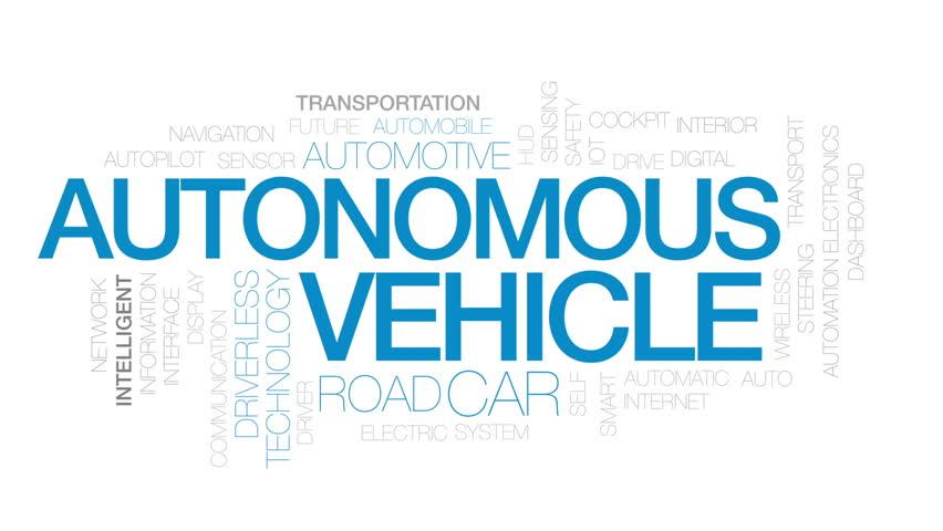 Autonomous vehicle animated word cloud, text design animation. Kinetic typography.