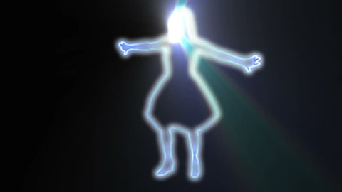 neon outlined gogo dancer silhouette in blue with light rays