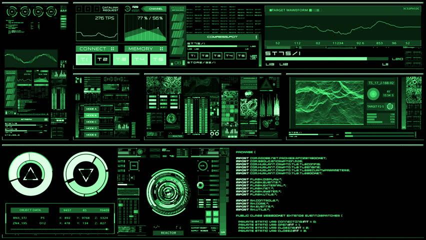 Futuristic Digital Interface Screen Stock Footage Video ...