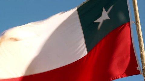 Chile Flag in the Atacama Desert. Close-Up.