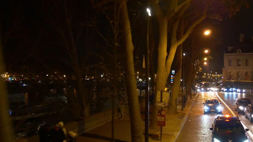 Night time illumination paris double-decker bus ride traffic street riverside panorama 4k france | Shutterstock HD Video #32763562