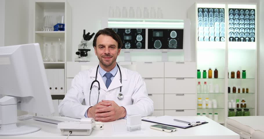 Medical Doctor Man Smiling Talking Therapy Procedure Concept in Hospital Room | Shutterstock HD Video #32764846