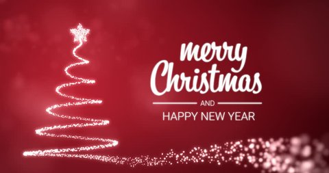 sparkling lights xmas tree Merry Christmas and Happy New Year greeting message in english on red background,snow flakes.Elegant animated holiday season social post digital card 4k video