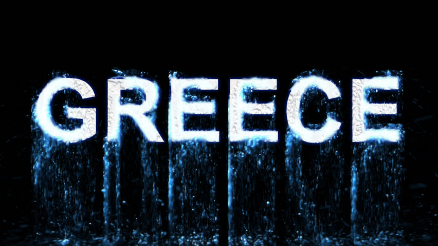 country name GREECE arises from blue water. Transparent alpha channel. 3D rendering