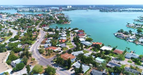 St Petersburg, Fl Aerial View Of City Skyline. St Pete drone. St. Petersburg is a city on Florida's gulf coast, part of the Tampa Bay area. It's known for its pleasant weather.
