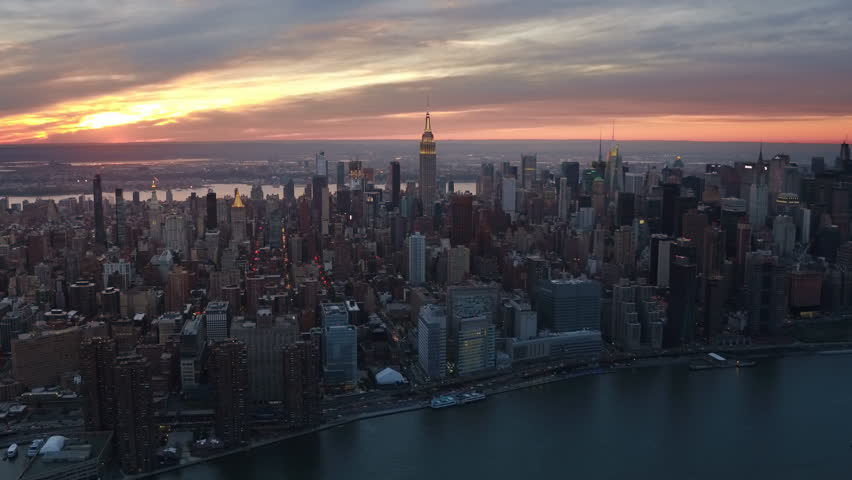 Famous skyscrapers during sunset in the Midtown Manhattan. New York City. United States, North America. Shot from a helicopter. | Shutterstock HD Video #32798542