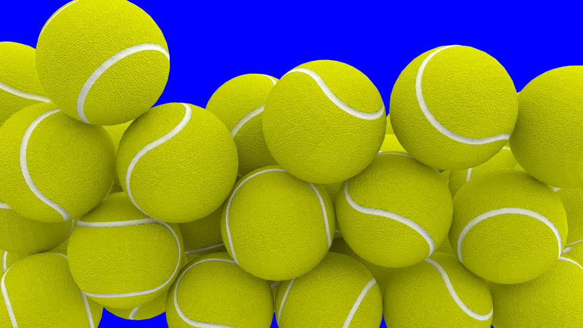 Animated a lot of plain green tennis balls falling, tumbling and bouncing filling up container against blue background. Front camera view.   Shutterstock HD Video #32799730