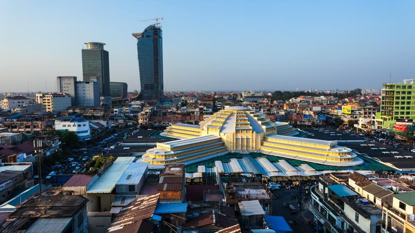 PHNOM PENH, CAMBODIA - JANUARY 16: Timelapse view of Phnom Penh Central Market.