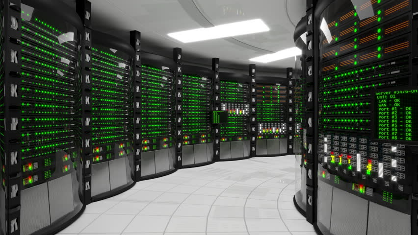 Modern working server room with rack servers. Cloud computing in datacenter, information storage, normal operation of computer equipment with flashing green light indicators. Seamless animation   Shutterstock HD Video #32815999