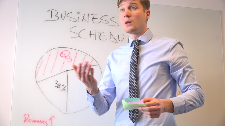 Business meeting presentation on white board sticker notes successful leader man | Shutterstock HD Video #32836492