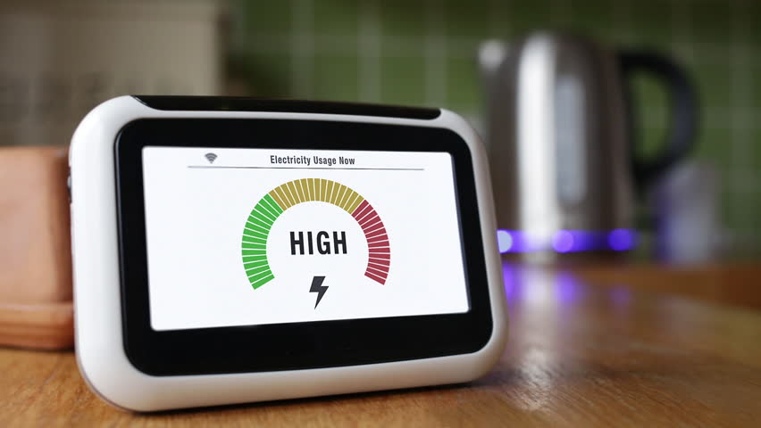 Smart Meter Displaying Electricity Use as a Kettle is Boiled.
