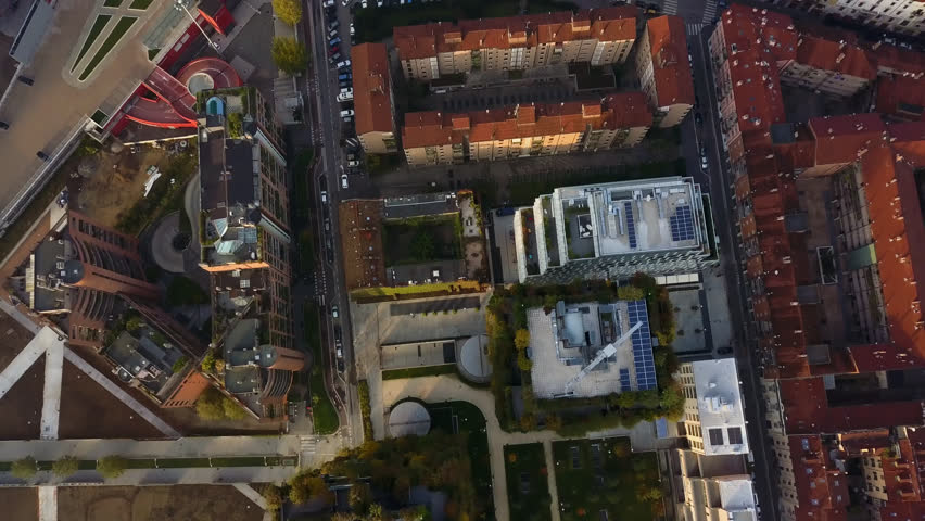 Milan top aerial view from drone at sunrise