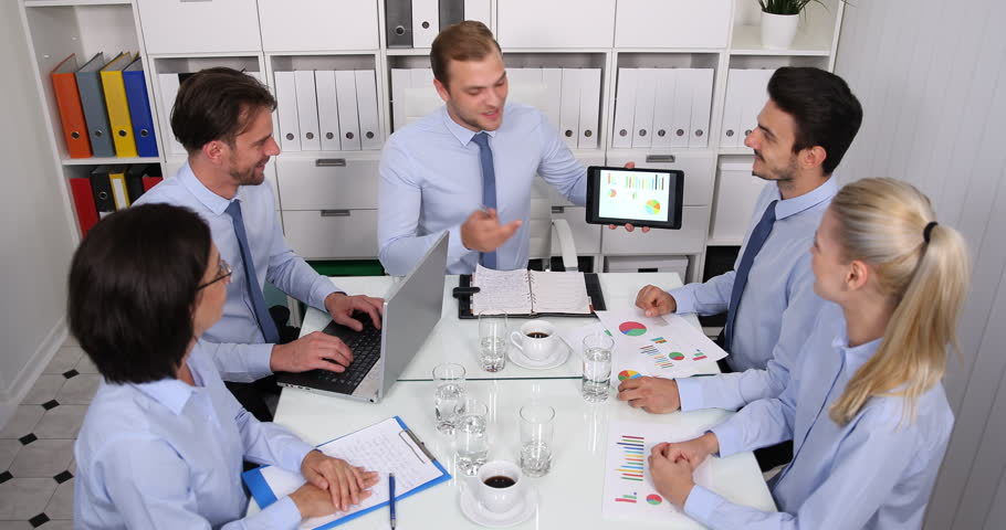 Happy Business People Applauding Good Results Giving by Manager in Meeting Room | Shutterstock HD Video #32842465
