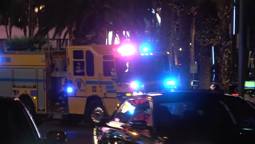 Fire engine on duty at Las Vegas Boulevard - emergency - LAS VEGAS / NEVADA - OCTOBER 12, 2017 | Shutterstock HD Video #32843719