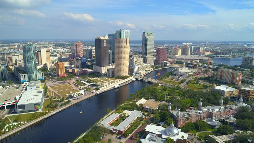 TAMPA, FL, USA - NOVEMBER 9, 2017: Drone approaching Downtown Tampa aerial video 4k 60p