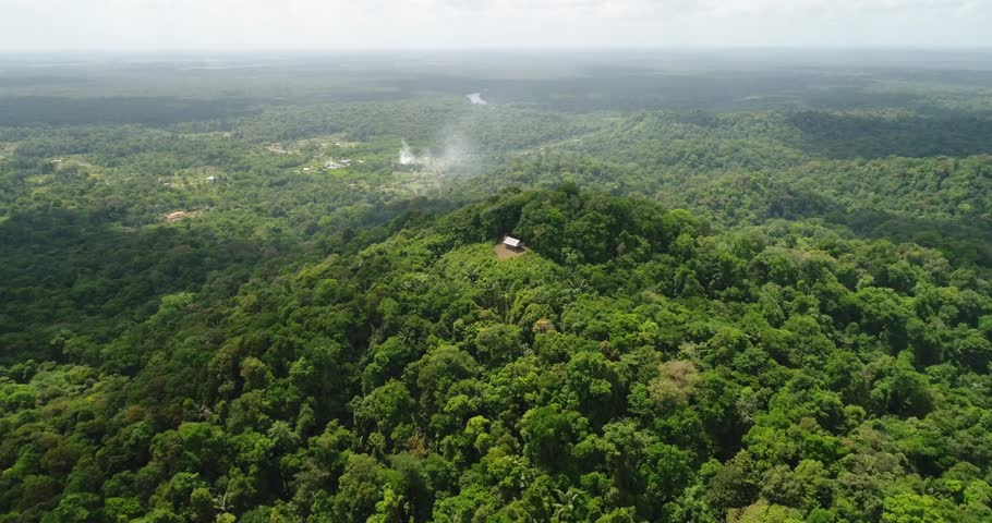 Beautiful aerial shot over the French Guiana forrest.