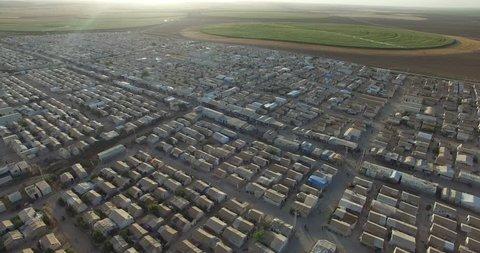 Aerial shot of  syrian refugees camp in Sanliurfa, Turkey.