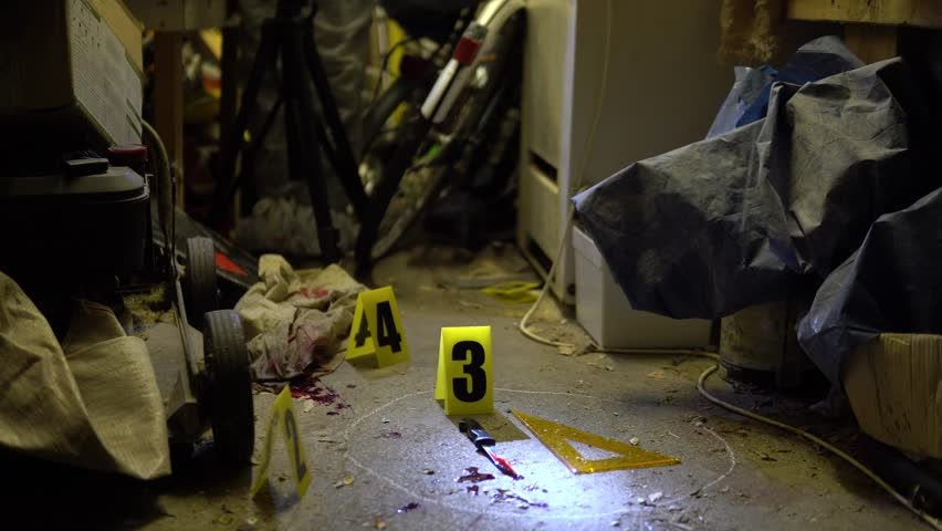 Forensics Crime Scene Searching For Clues In Murder Investigation At ...