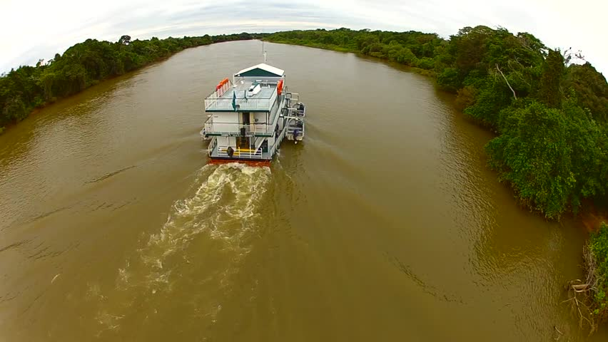 Aerial View of Boat on River, PANTANAL MT, Brazil