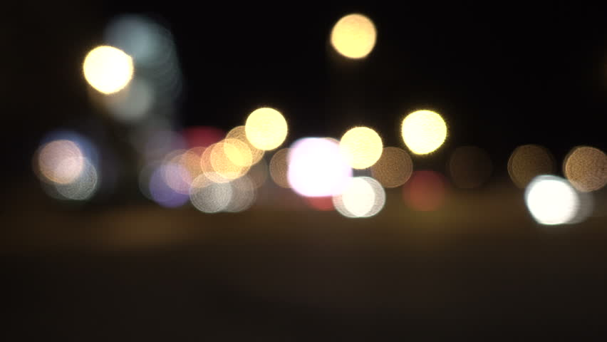 Defocused lights Los Angeles street abstract . City blur background. Moving bokeh circles of night traffic. | Shutterstock HD Video #32888467