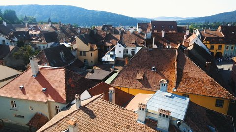 Aerial view from clock tower in Sighisoara town in Romania
