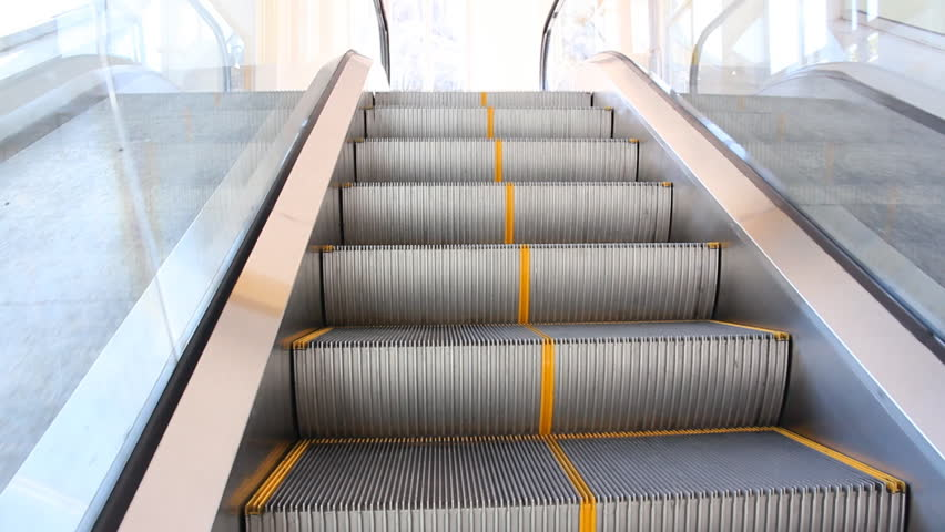 Lovely Moving Up Escalator   HD Stock Video Clip
