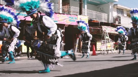 MONTERREY, NUEVO LEON / MEXICO - 11 18 2017: Mexican traditional matachin dancers in a peregrination to Basilica de Guadalupe in Monterrey Mexico