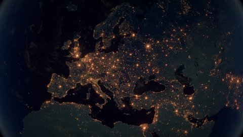 Zoom to Europe. The Night View of City Lights. World Zoom Into Europe - Planet Earth. Political Borders of European Countries: Russia, Germany, Turkey, France, United Kingdom, Italy, Spain, Poland.