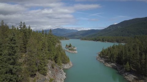 Aerial drone view of Daisy Lake during a sunny summer day. Taken between Whistler and Squamish, North of Vancouver, British Columbia, Canada.