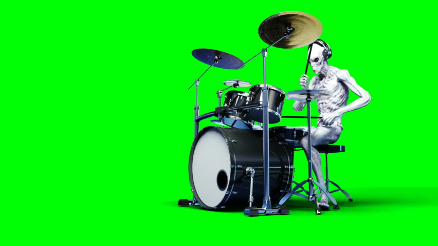 Funny alien plays on drums. Realistic motion and skin shaders. 4K green screen footage.