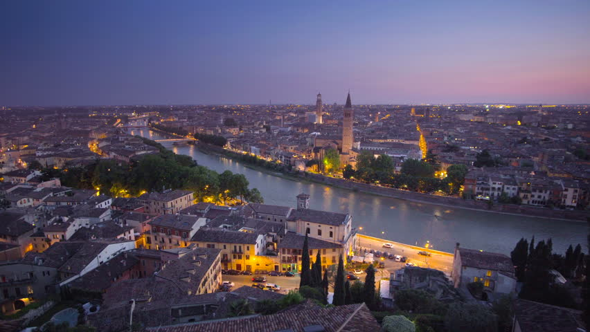 Sunset aerial view, Verona, Italy | Shutterstock HD Video #32995486
