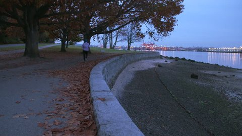 Stanley Park Morning Jog, Vancouver 4K. UHD. A morning jog on the Stanley Park seawall. Vancouver, British Columbia. 4K. UHD.