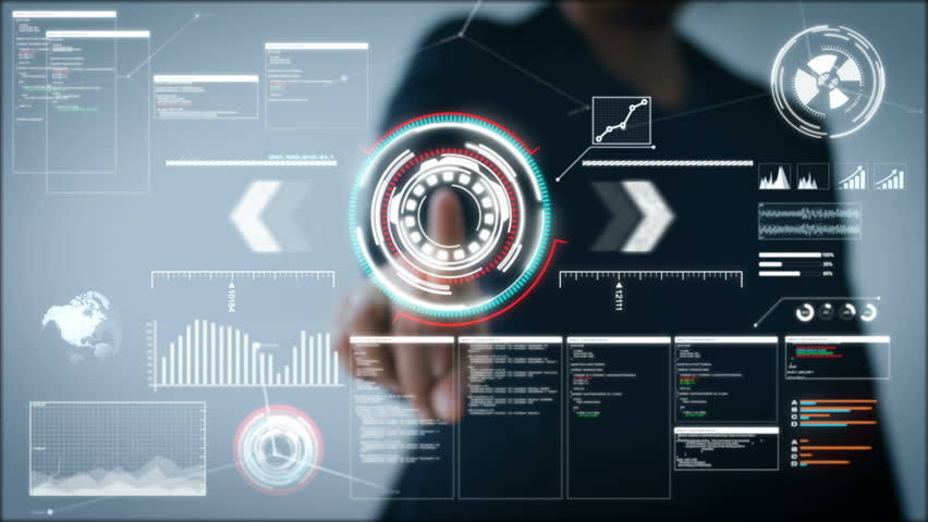 4K Business woman pointing finger on HUD And graph bar pi for Cyber futuristic concept technology element on the dark background | Shutterstock HD Video #33001156