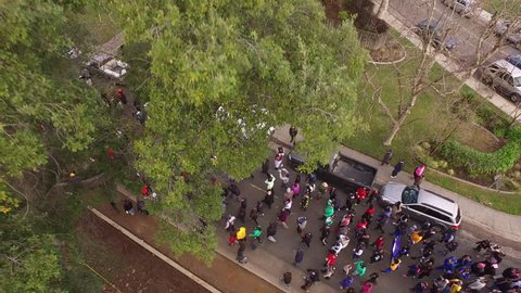 Sacramento California January 16th 2017 4k Aerial Martin Luther King Jr March. peaceful demonstration Stock footage.