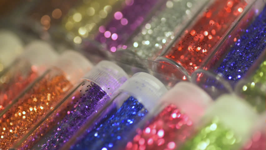 A collection of plastic glitter filled tubes. | Shutterstock HD Video #33015055
