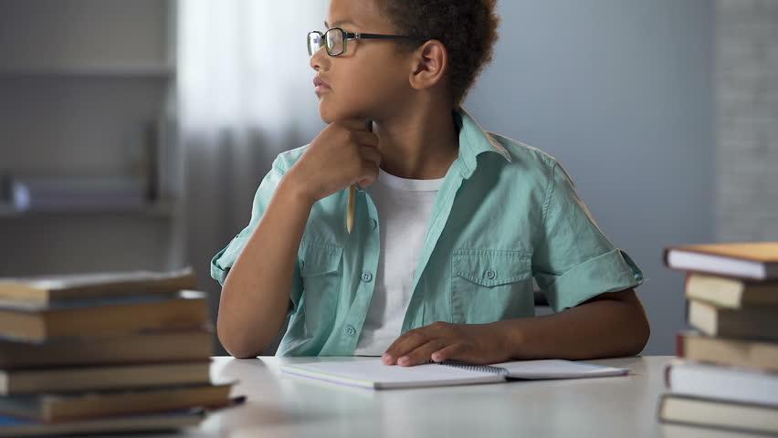 Schoolboy thinking on literature essay, doing homework, school education | Shutterstock HD Video #33018982