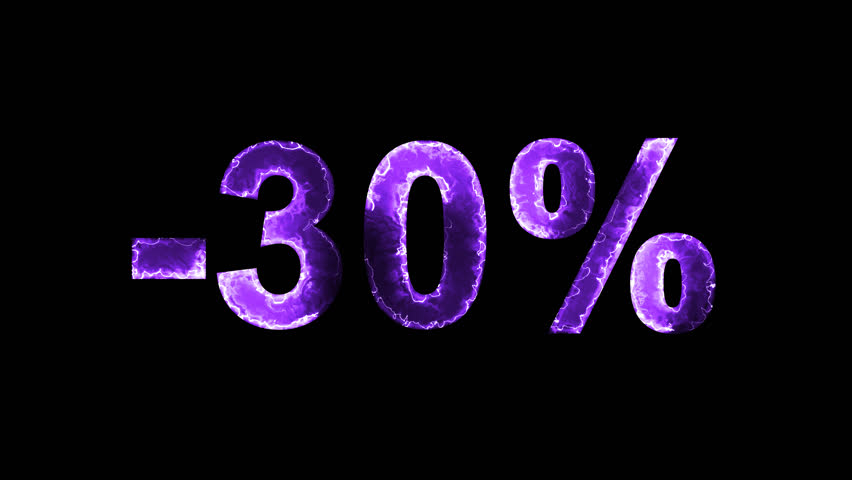 Luminous and shimmering haze inside the letters of the sale, discount, price, promotion, offer, promo, marketing, percent, tag, sale tag, -30%. Transparent, Alpha channel | Shutterstock HD Video #33019807