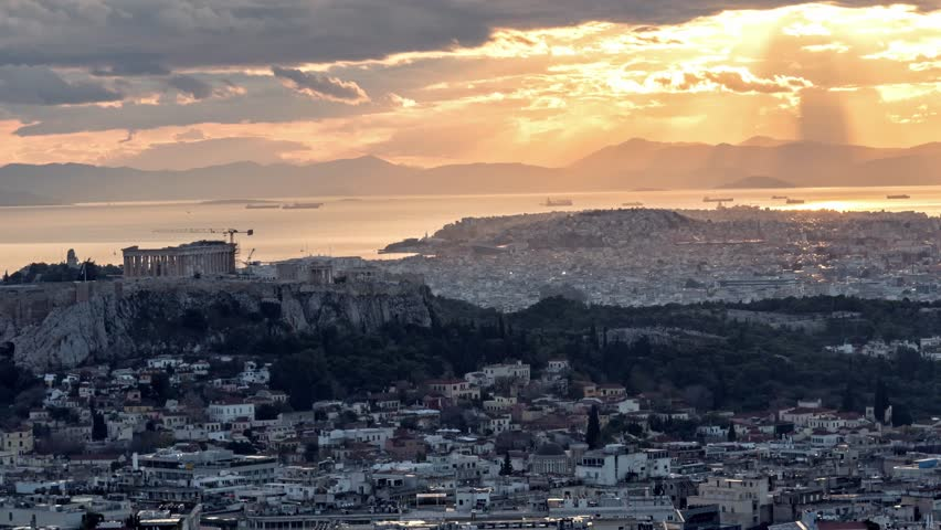 4k time lapse of acropolis and part of athens, day to night