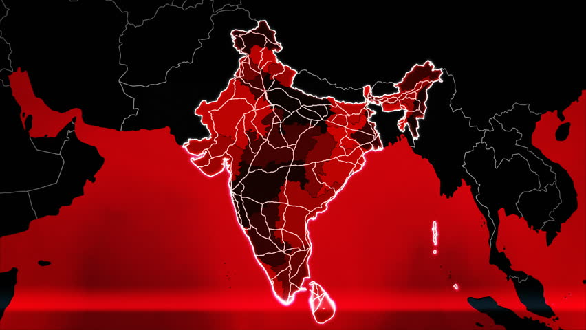 World map with India administrative divisions, airports and highways. More options in my portfolio. Red. | Shutterstock HD Video #33069505
