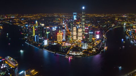 night time downtown shanghai cityscape sunny day traffic road junction aerial view 4k china