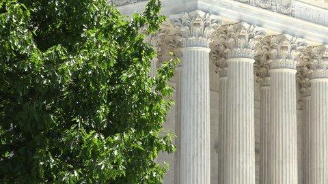 Washington DC - Circa 2017: Untied States Supreme Court Building shot on a bright summer day in Washington DC,