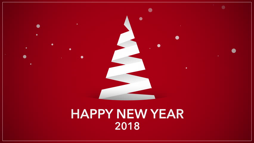 Happy New Year 2018 text, animated footage in 4K. White Christmas tree on red background. Luxury and elegant dynamic style template in video format 3840x2160 | Shutterstock HD Video #33164974