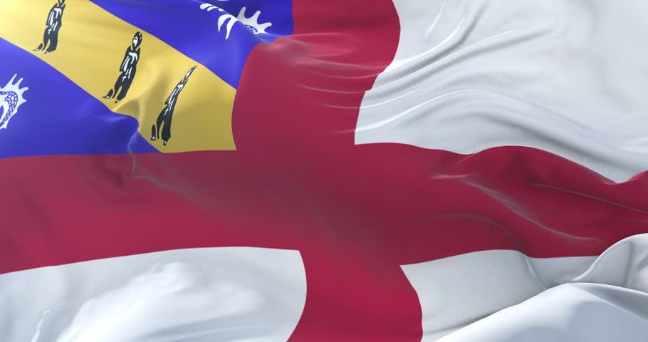 Herm flag waving at wind in slow in blue sky, loop