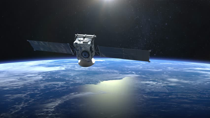 The satellite scan and monitor the Earth. The camera shoots the satellite close-up. The earth rotates slowly. 4K. | Shutterstock HD Video #33176926