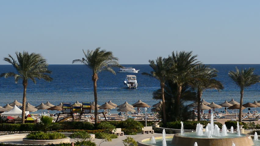 The motor yacht near beach at the luxury hotel, Sharm el Sheikh, Egypt