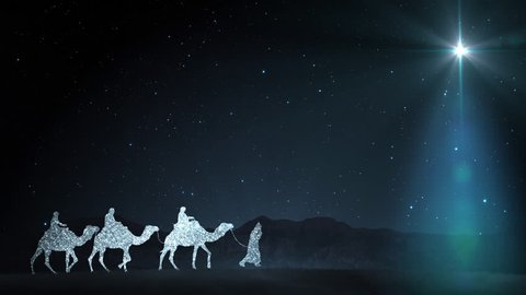 Christmas scene with twinkling stars and brighter star of bethlehem with  sparkling nativity characters