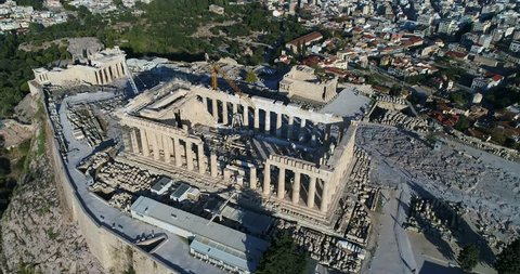 Aerial flight with drone over the famous of Parthenon and Acropolis in Athens,Greece